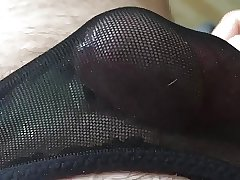 Cum in black stocking