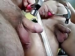 Hammer to my limp small dick in mirror