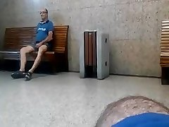 Caught - Older male showing his cock in public