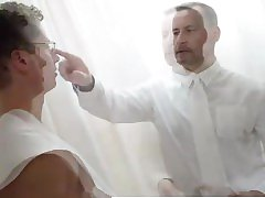 Older gay man oils and sucks young straight guy