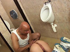 Twink gets his asshole streched wide in a public bathroom