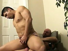 Mature guy fingers gay twink till he cums on himself After f