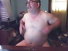 Daddy with beard play and cum