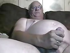 Chubby daddy handjob and cum