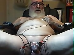 grandpa electrocum on webcam