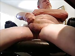 Hairy mature handsome man unloading cum