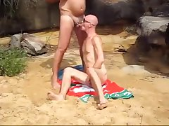 beach hunk blows dad
