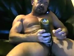 Brit muscle dad cums in his fleshlight two