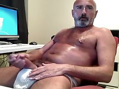 Hairy Daddy's Thick Cock Jock Strap Jack Off