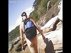 Nat follows a nice arse down to the beach