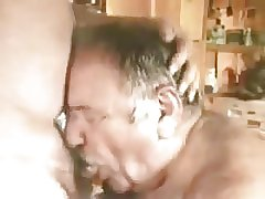 A younger men sucking older mature men