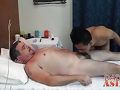 Asian twink spread his ass for a big rod